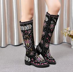 2017 Ethnic Retro Womens Tassels Embroidery Knee High Folk C