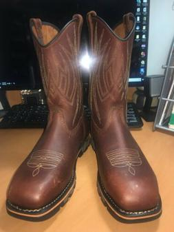 Timberland PRO 355 Alloy Toe Cowboy Boots Leather Brown Men'