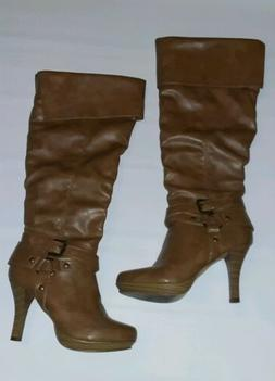 Baylor Rampage beige Tall Stiletto Boots Shoes 6 1/2 Medium