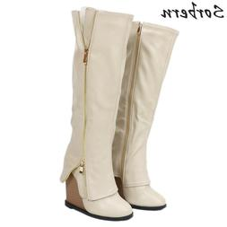 beige knee high wedge font b boots