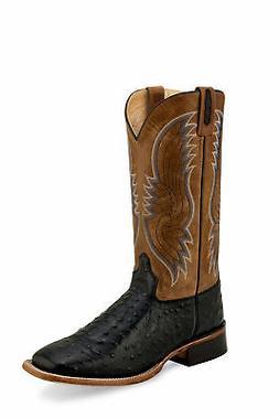 black tan mens leather ostrich print cowboy