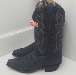 Laredo Blue Leather Embroidery Western Cowboy Boots Distress