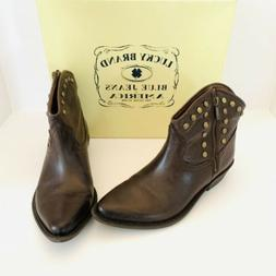 brown leather zip studded ankle cowboy boots