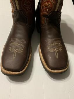 Brown Work Cowboy Boots 13 Medium Pull-On  Square Toe Men'
