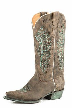 Roper Chiefs Womens Brown Leather 13In Cowboy Boots 6.5