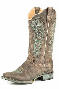 Roper Chiefs Womens Brown Leather Studs Cowboy Boots