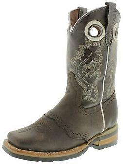 Childrens Kids Boys Brown Real Leather Tough Rodeo Western C