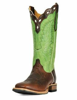 Cinch Mens Green Leather Square Toe Cowboy Western Boots Siz
