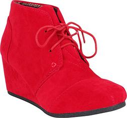 Cambridge Select Women's Classic Lace-Up Chunky Wedge Ankle