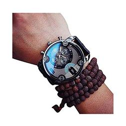 Clearance! Charberry Mens Large Dial Quartz Watch Leather Qu