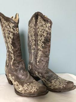 Corral Cowboy Boots Womens 10M Snip toe. Embroidery Beige Br