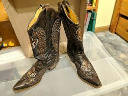 CORRAL Women's Black Sequin Wing & Cross Cowgirl Boots Squar