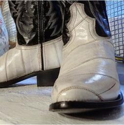 Laredo cowboy Boots Black White genuine eel skin  model #67