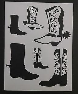 """Cowboy Boots Boot Western Country 8.5"""" x 11"""" Custom Stencil"""