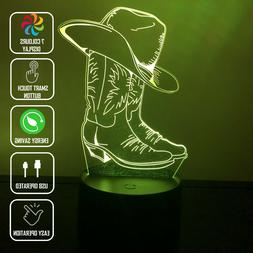 COWBOY BOOTS COWBOY HAT 3D Acrylic LED 7 Colour Night Light