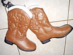 cowboy youth boots brown faux leather girls