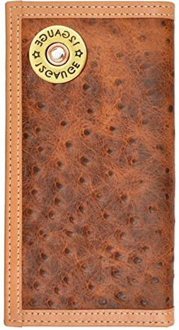 Custom 12 Gauge Shotgun Ostrich Print long checkbook wallet