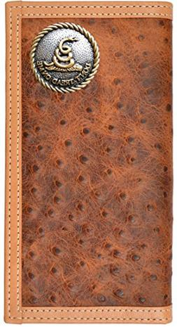 Custom Don't Tread On Me Long Ostrich Print Leather Wallet B