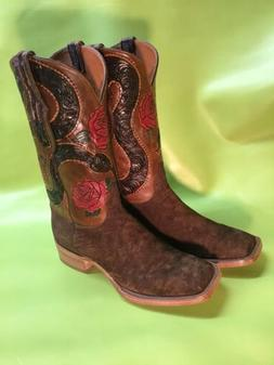 Custom Hand Made Tooled Hippo Cowboy Boots