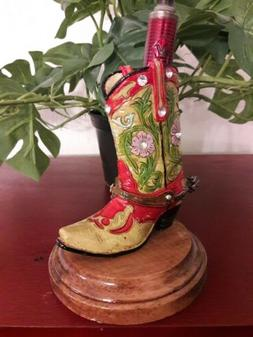 """BATTERY/CANDLE HOLDER UP TO 3/4""""- WESTERN BOOT ON ANTIQUE BA"""