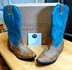 Coconuts By Matisse Gaucho Cowboy Boots Brown/Turquoise Faux