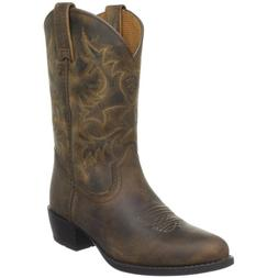 Kids' Heritage Western Boot ,Distressed Brown,4 M US Big Kid