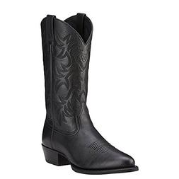 Ariat Men's Heritage Western R Toe Cowboy Boot, Black Deer T