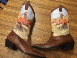 High Leather Cowboy Boots with Painted Scene 8M