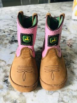John Deere Johnny Poppers Baby Girls Pink Cowboy Leather Boo