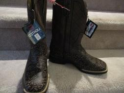 Kid's Cinch LED Lighted Brown Leather Cowboy Boots - Sz 6M