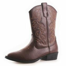 Kids DEER STAGS RANCH DARK BROWN Pull-On Embroidered Cowboy