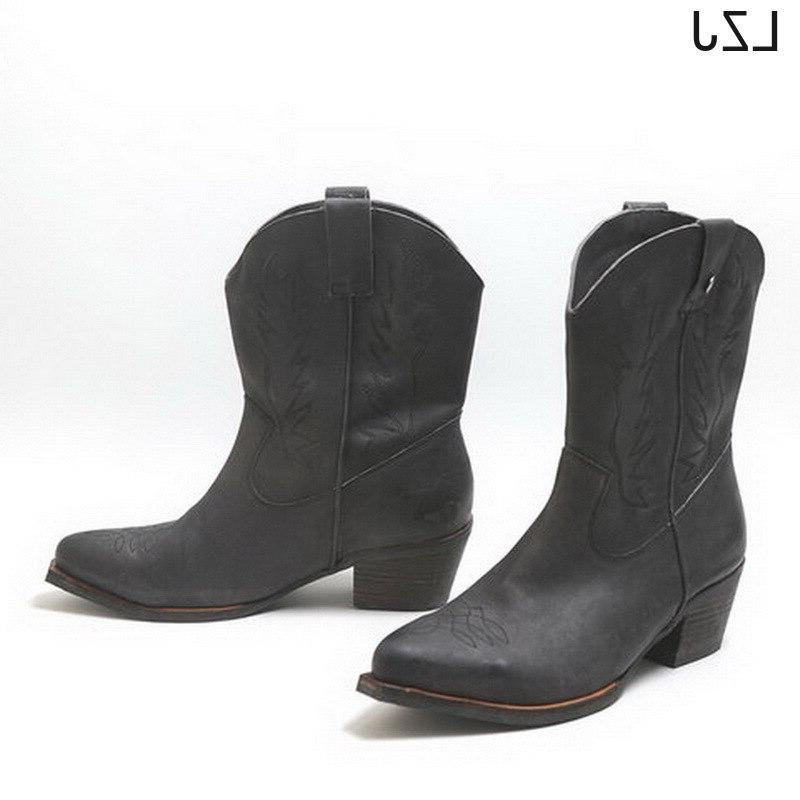 LZJ 2019 Embroidered Western For Women <font><b>Leather</b></font> Cowgirl <font><b>Boots</b></font> Low Heels Knee High <font><b>Boots</b></font>