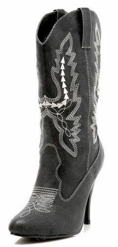 "4"" Black Cowboy Cowgirl Western Sexy Stiletto Womans Boots H"