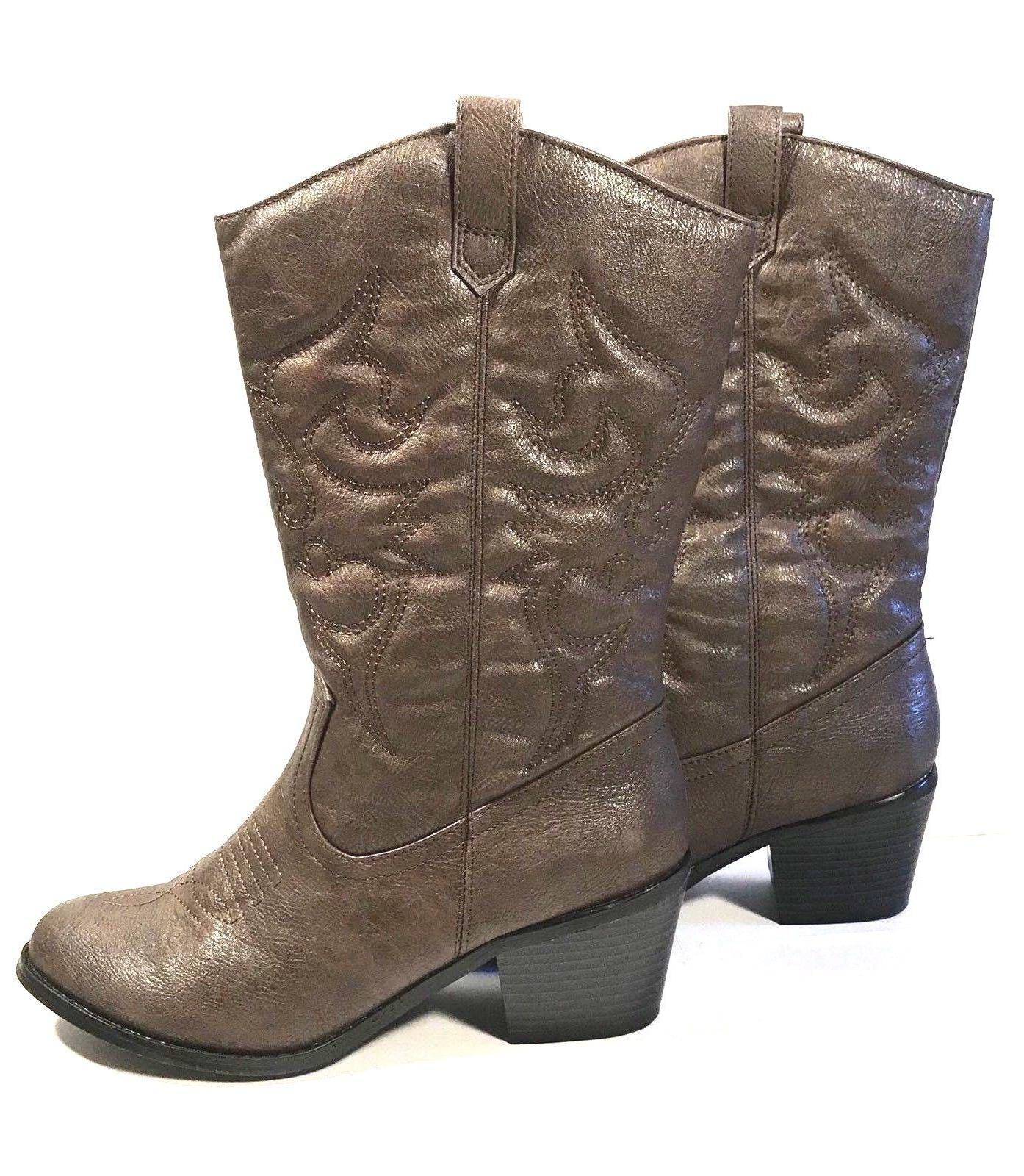 West Blvd Miami Cowboy Western Boots Brown Pu Women Size 6.5