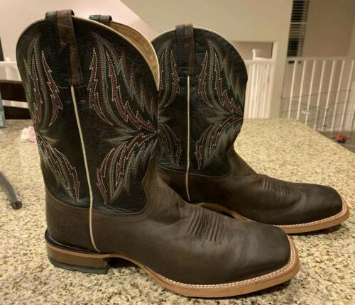 arena work rebound square toe cowboy leather