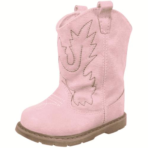 Baby Deer Baby Girl Western Boot Round Toe with Embroidery a