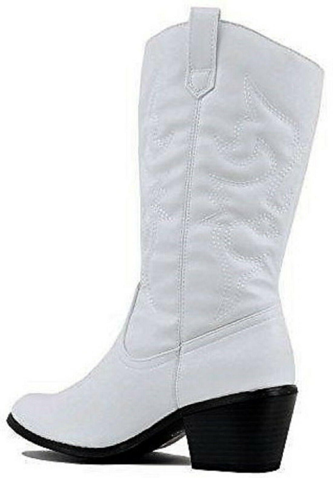 BDW-14W Western Mid Calf Pointed Stitched