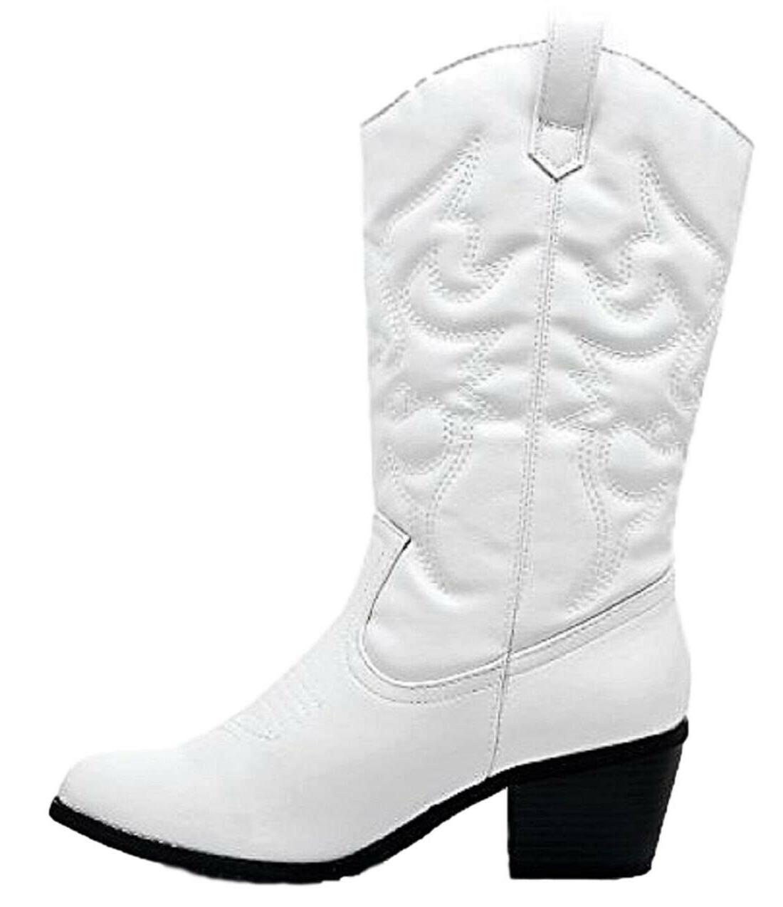 BDW-14W Western Cowboy Cowgirl Mid Pointed Toe Stitched White