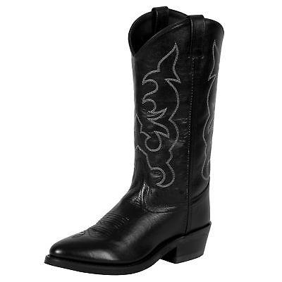 Old West Black All Leather Stitch Narrow Round Toe Cowboy Boots