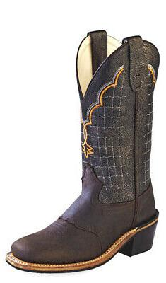 Old West Black Youth Boys Corona Leather Broad Square Toe Co