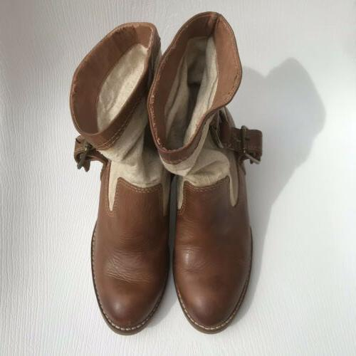 Lucky Brand Brown Leather Boxer Bootie 5 1/2 Cowboy Ankle