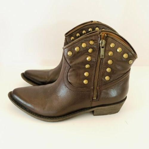 Lucky Brown Zip Studded Ankle Boots Size 6.5 Cicily