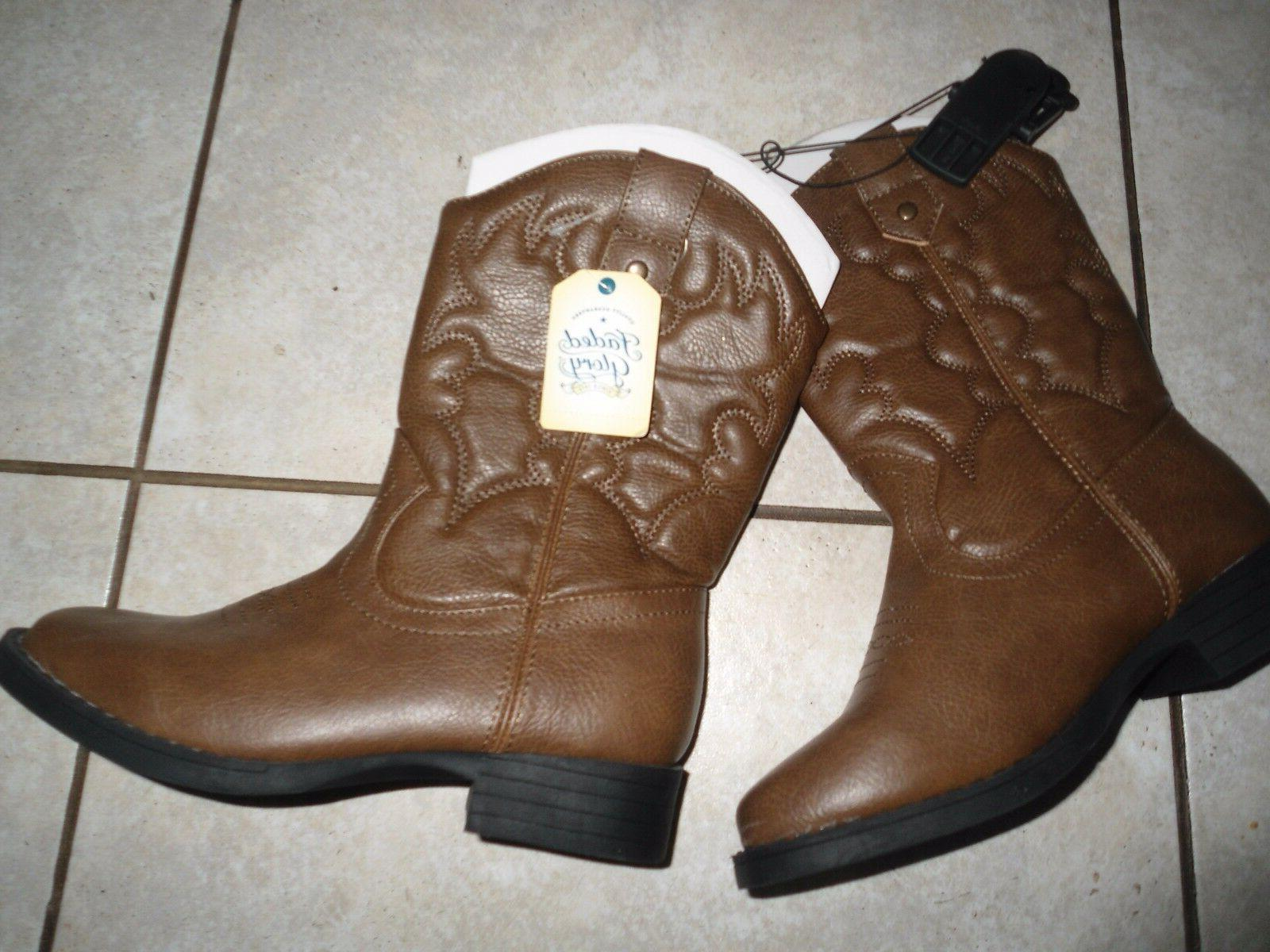 faded boots brown girls boys western