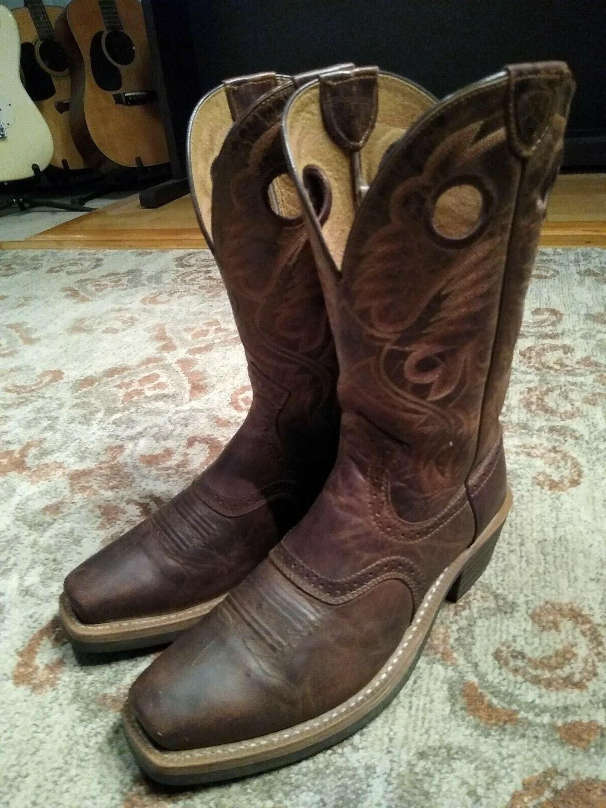 ARIAT HERITAGE BROWN LEATHER S COWBOY BOOTS 8.5