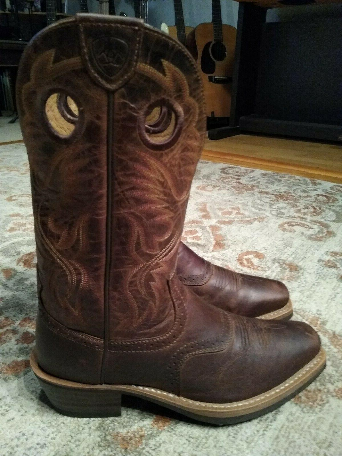 ARIAT BROWN LEATHER S COWBOY 8.5