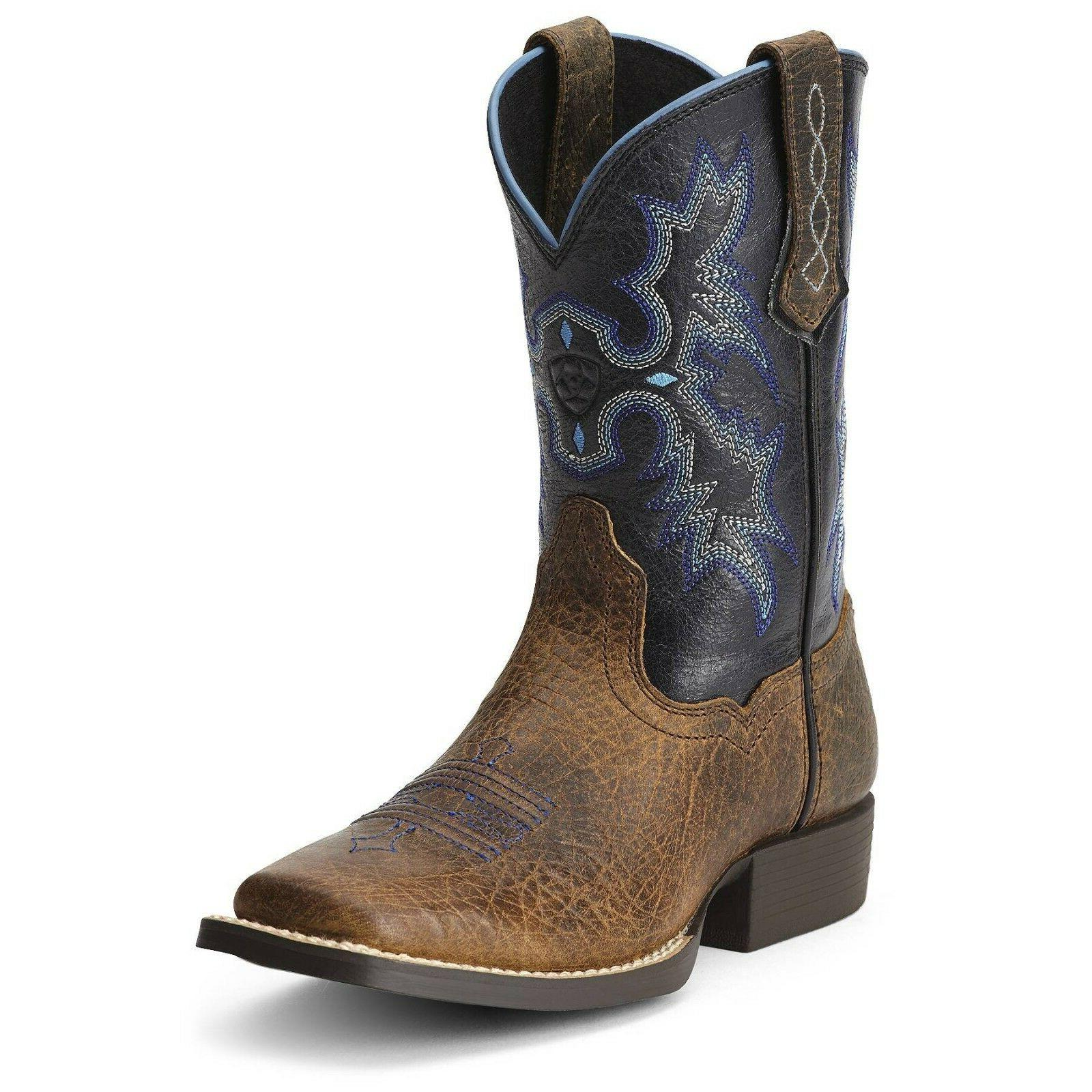 kids boys tombstone square toe cowboy leather
