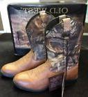 Kids Old West Cowboy Boots Tan W/ Realtree Camo Print Shaft