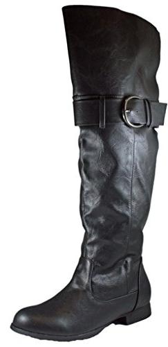 knee faux leater boot