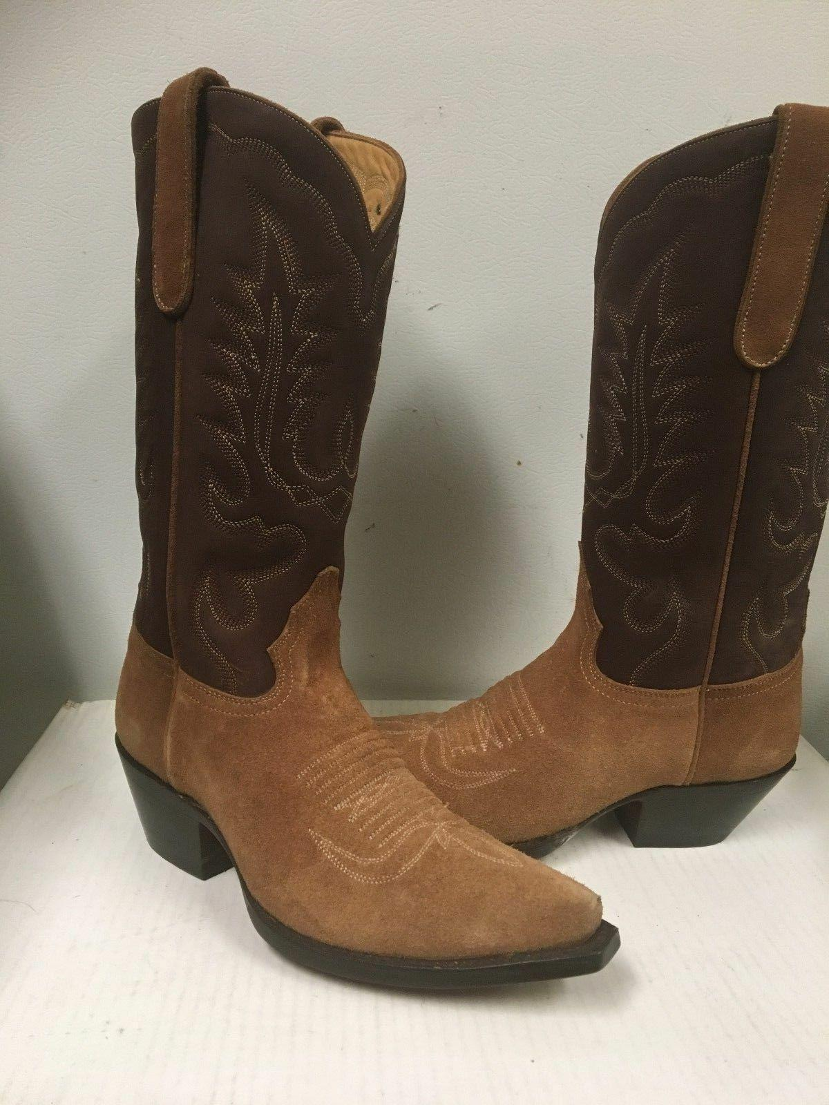 ladies suede tan and brown western boots