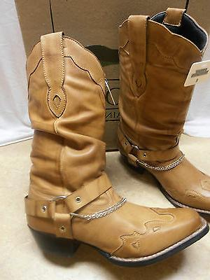 Ladies Tan Slouch Harness Motorcycle Boots 5 6 8 9